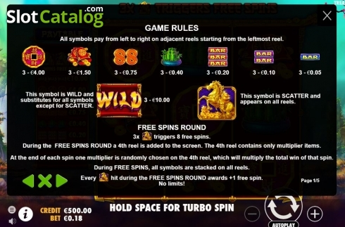 Paytable 1. Treasure Horse (Video Slot from Pragmatic Play)