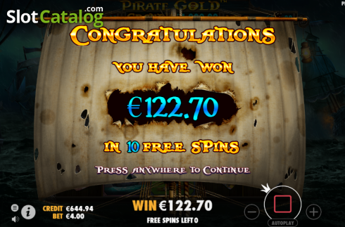 Free Spins Win. Pirate Gold (Video Slot from Pragmatic Play)