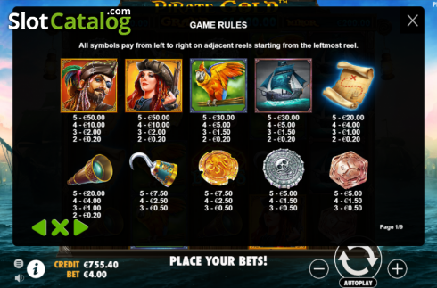 Paytable. Pirate Gold (Video Slot from Pragmatic Play)