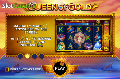 Screen 1. Queen of gold (Video Slot from Pragmatic Play)
