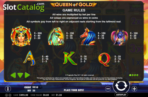 Paytable 1. Queen of gold (Video Slot from Pragmatic Play)