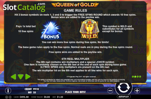 Paytable 2. Queen of gold (Video Slot from Pragmatic Play)