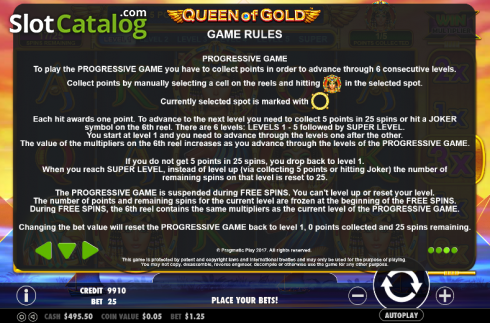 Paytable 3. Queen of gold (Video Slot from Pragmatic Play)