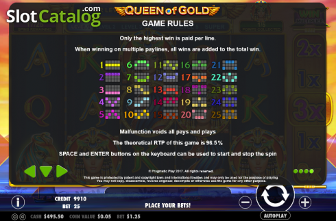 Paytable 4. Queen of gold (Video Slot from Pragmatic Play)