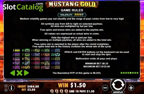 Game Rules. Mustang Gold (Video Slots from Pragmatic Play)