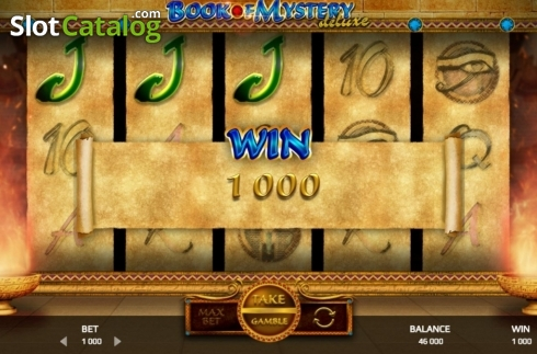 Win Screen. Book of Mystery Deluxe (Video Slot from Promatic Games)