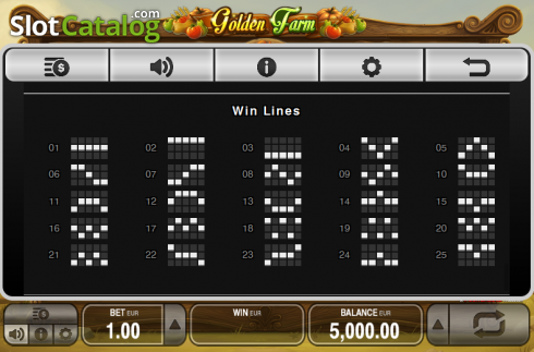 Paytable 6. Golden Farm (Video Slots from Push Gaming)