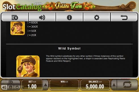 Paytable 3. Golden Farm (Video Slots from Push Gaming)
