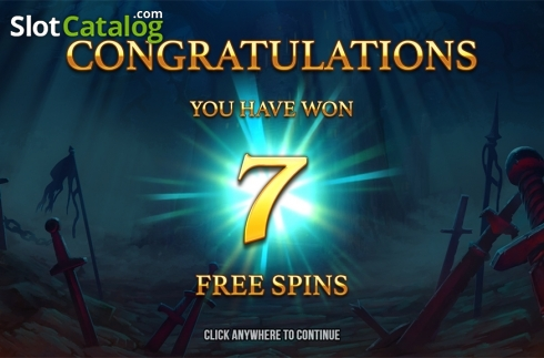 Free spins intro screen. Immortal Guild (Video Slot from Push Gaming)