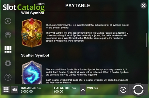 Paytable 2. Immortal Guild (Video Slot from Push Gaming)