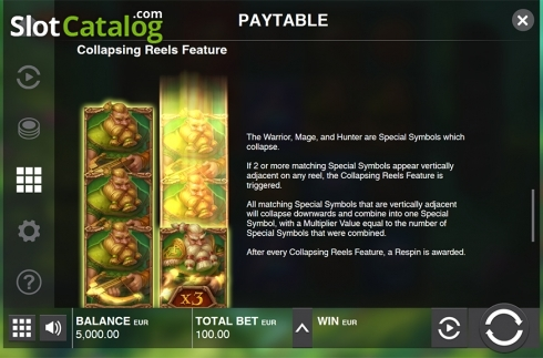 Paytable 3. Immortal Guild (Video Slot from Push Gaming)