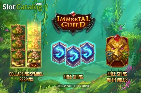 Intro screen. Immortal Guild (Video Slot from Push Gaming)