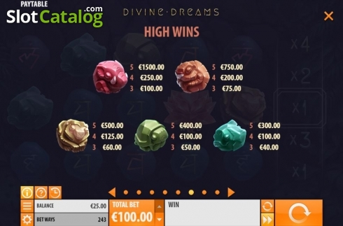 Paytable 1. Divine Dreams (Video Slot from Quickspin)
