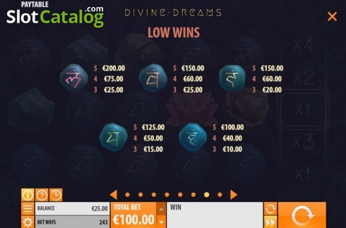 Paytable 2. Divine Dreams (Video Slot from Quickspin)