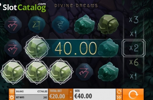 Win screen. Divine Dreams (Video Slot from Quickspin)