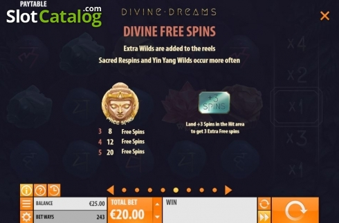 Divine Free Spins. Divine Dreams (Video Slot from Quickspin)