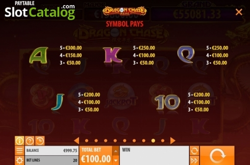 Paytable 2. Dragon Chase (Video Slot from Quickspin)