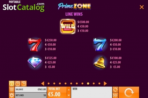 Paytable 1. Prime Zone (Video Slot from Quickspin)