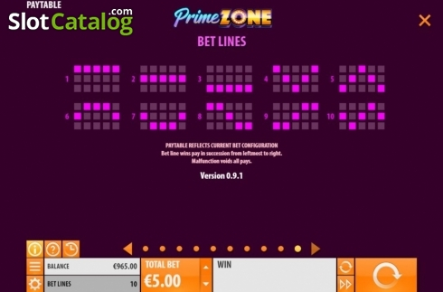 Paylines. Prime Zone (Video Slot from Quickspin)