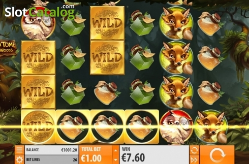 Win Screen 1. Wild Tome of the Woods (Video Slot from Quickspin)