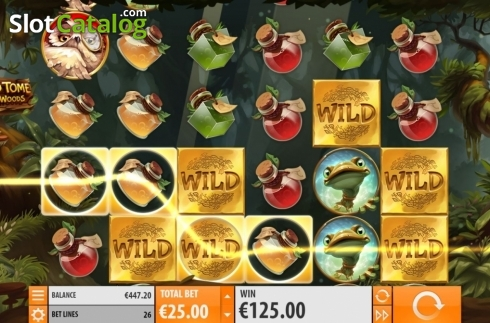 Win Screen 2. Wild Tome of the Woods (Video Slot from Quickspin)