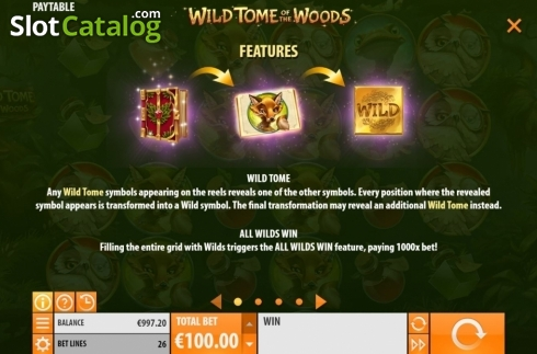 Features. Wild Tome of the Woods (Video Slot from Quickspin)