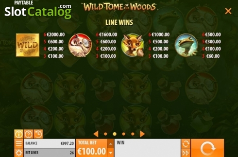 Paytable 1. Wild Tome of the Woods (Video Slot from Quickspin)