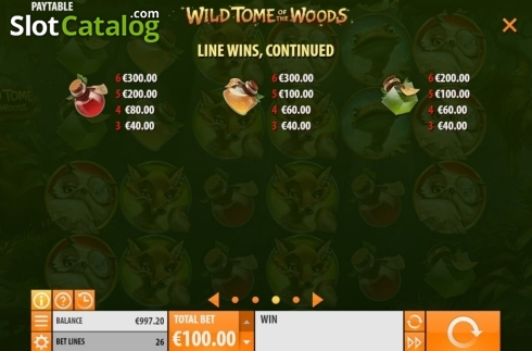 Paytable 2. Wild Tome of the Woods (Video Slot from Quickspin)