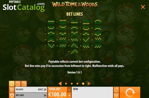 Paylines. Wild Tome of the Woods (Video Slot from Quickspin)