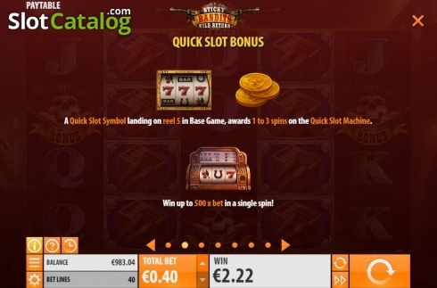 Skärm14. Sticky Bandits: Wild Return (Video Slot från Quickspin)