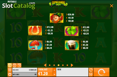 Paytable 3. Leprechaun Hills (Video Slot from Quickspin)