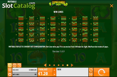 Paytable 5. Leprechaun Hills (Video Slot from Quickspin)