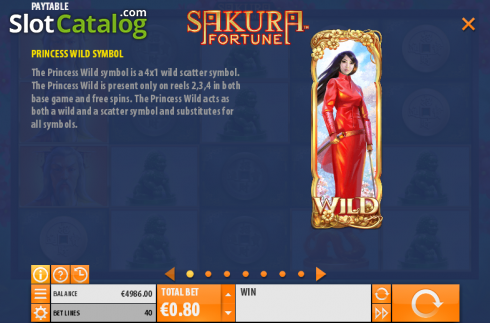 Betalingstabell 1. Sakura Fortune (Video Slot fra Quickspin)