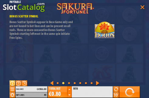 Betalingstabell 2. Sakura Fortune (Video Slot fra Quickspin)