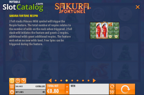Betalingstabell 3. Sakura Fortune (Video Slot fra Quickspin)