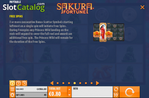 Betalingstabell 4. Sakura Fortune (Video Slot fra Quickspin)