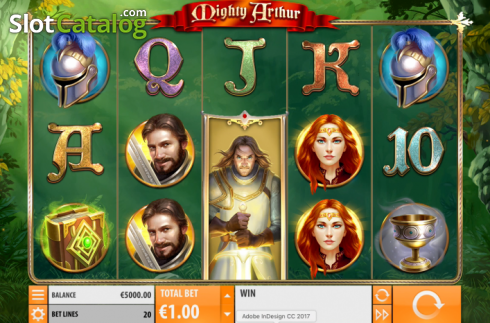 Game Workflow screen. Mighty Arthur (Video Slot from Quickspin)