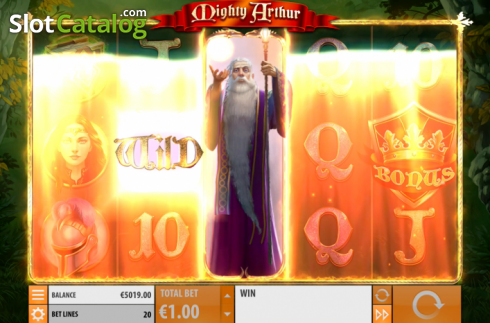 Win Screen . Mighty Arthur (Video Slot from Quickspin)