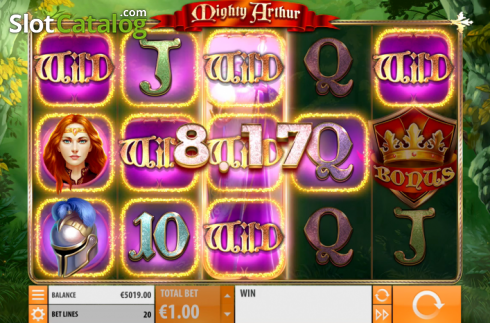 Win Screen 2. Mighty Arthur (Video Slot from Quickspin)