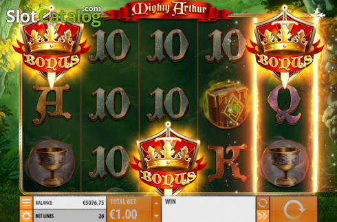 Win Screen 4. Mighty Arthur (Video Slot from Quickspin)