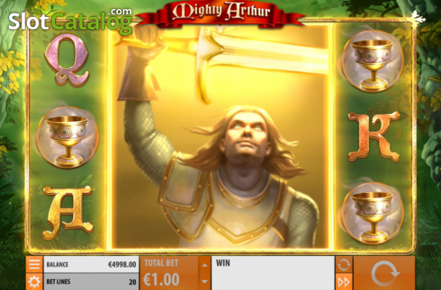 Win Screen 5. Mighty Arthur (Video Slot from Quickspin)