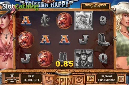 Win Screen. Trigger Happy (Video Slot from RTG)