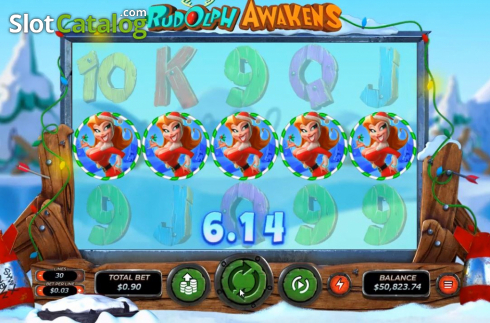 Win Screen. Rudolph Awakens (Video Slots from RTG)