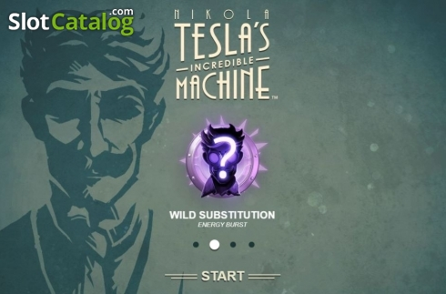 Start Screen. Nikola Tesla's Incredible Machine (Video Slot from Rabcat)
