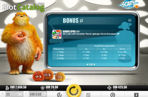 Tabulka plateb 3. Scary Friends (Video Slot z Rabcat)