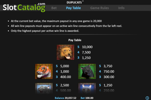 Paytable 1. Duplicats (Video Slots from Realistic)