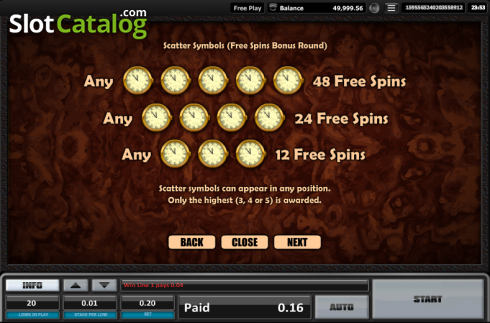Paytable 8. Time is money (Video Slots from Realistic)