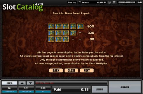 Paytable 12. Time is money (Video Slots from Realistic)