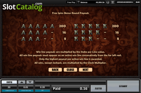 Paytable 13. Time is money (Video Slots from Realistic)