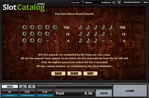 Paytable 14. Time is money (Video Slots from Realistic)